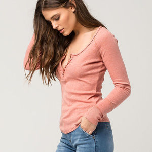 FREE PEOPLE ~ SUGAR AND SPICE HENLEY SHIRT ~ L ~